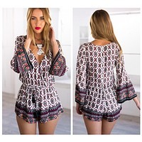 OMG Love Prettypattern Summer Print Long Sleeve Deep V Shorts Romper
