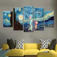 Canvas Wall Art Modular Pictures 5 Panels Rick And Morty Poster Home Decor Animation Posters No Framework Living Room HD Printed