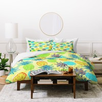 Lisa Argyropoulos Pineapple Pandemonium Yellow Duvet Cover