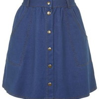 '70s Wash Button Front Skirt - Washed Blue