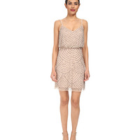Adrianna Papell Blouson Bead Dress Taupe/Pink - 6pm.com