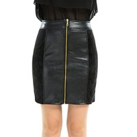 Office lady patchwork pencil skirt women winter short skirts mini faux leather skirts black red PU skirts