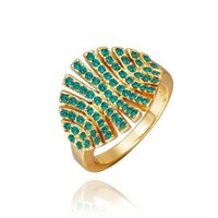 18K Yellow Gold Plated Blue Zricon Swarovski Elements Crystal Fireworks Ring, Size 8