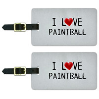I Love Paintball Written on Paper Luggage Tag Set