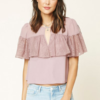 Contemporary Lace Flounce Top
