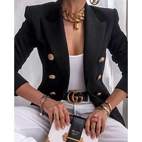 """Alyssa"" Double Breasted Gold Button Blazer"