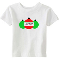 Christmas Onesuit or Kid's T-Shirt -- Ornaments with Personalized Name