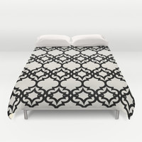 Lattice Stars in Black and Ivory Duvet Cover by House Of Jennifer
