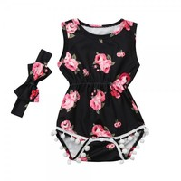 Gorgeous Floral Pompom Sleeveless Bodysuit with Headband for Baby Girl