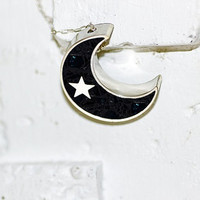 Stevie Nicks Inspired Black Crescent Moon Necklace with Star & Blue Glass - Night Sky, Luna, Galaxy, Stainless Steel and Black Concrete