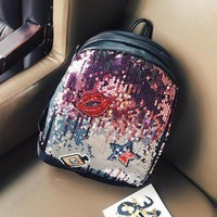 Girls bookbag Women Backpack Fashion Lipstick Sequins Girls Backpacks Paillette Leisure School Bookbags AT_52_3