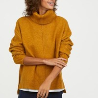 Knit Turtleneck Sweater - Mustard yellow - Ladies | H&M US