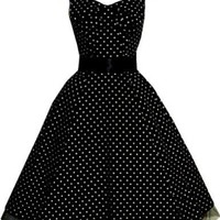 Pretty Kitty Fashion 50s Polka Dot Black Vintage Swing Prom Pin-Up Tea Dress: Amazon.co.uk: Clothing