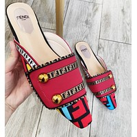 Fendi Women Fashion New More Letter Print Leather Leisure Slippers Shoes