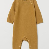 Fine-knit Overall - Mustard yellow - | H&M US