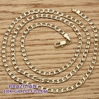 Gold Tone Men Curb Basic Necklace, by Folks Jewelry