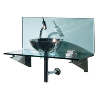 New Generation transparent glass L-shaped top system with polished stainless steel above mount basin and polished stainless steel angular wall mount supports