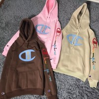 Champion x Kith co-branded embroidered color letter plus velvet hoodie