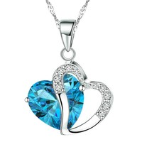 KATGI Fashion Austrian Crystals Heart Shape Pendant Necklace (HIGHLAND BLUE)