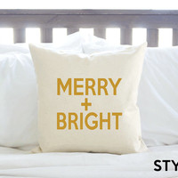 "Christmas Decor ""Merry & Bright"" Pillow Cover - Metallic Gold"