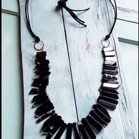 Chunky Black Agate Necklace with Leather Ties 228K