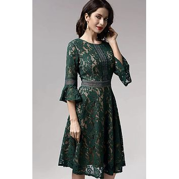 Vintage Inspired Bell Sleeve Lace Cocktail Dress, US Sizes 0 - 20  (Green Dress)