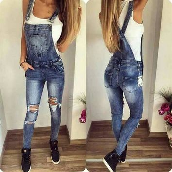 Russian Women Sexy Hole Jeans Jumpsuits