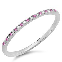 10K White Gold Round Pink Sapphire & White Diamond Ladies Dainty Anniversary Wedding Stackable Ring