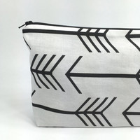 Zipper Pouch - Cosmetics Bag - Makeup Bag - Travel Storage - Large Bag - Black and White