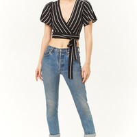 Stripe Wrap-Front Crop Top