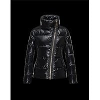 Moncler ILAY Turtleneck Drawstring Closure Black Jackets Lacquered Nylon Womens 414567