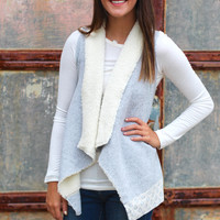 Bonfire Fur Trim Vest {H. Grey}