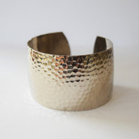 Vintage Silver Tone Hammered Texture Chunky Cuff Bracelet // Shabby Chic Gypsy Boho Style, Tribal Belly Dance Costume Jewelry