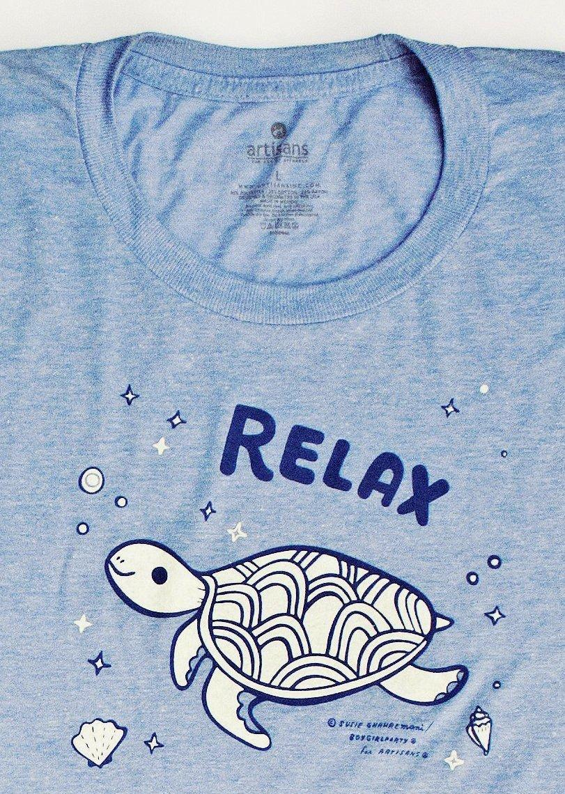Image of Relax! Sea Turtle Womens Graphic T-Shirt