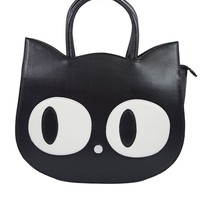 Nugoth Kawaii Gothic Lolita Big Eye Black Cat Face Handbag