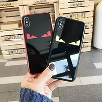 FENDI Tide brand plated glass mirror iPhoneX phone case cover