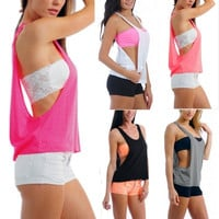 Summer Womens Open Sides Sleeveless  Candy Colors Shirt Blouse Tops Tank Vest Tee = 1958053636