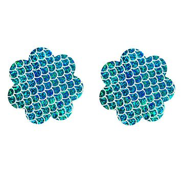 Blue Multi Colored Shimmer Pasties Embellished