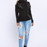 Making Sense To Me Lace Up Sweater - Black