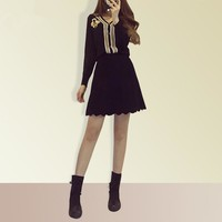 """""""Gucci"""" Temperament Fashion Bee Embroidery Multicolor V-Neck Long Sleeve Knit Cardigan Short Skirt Set Two-Piece"""