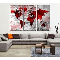 Red Grunge Watercolor World Map Wall Art Canvas Print Bloody World Map No:056