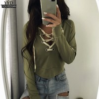 Women Hoodie Lace Up Bandage V Neck Sweatshirts Jumper Cropped Autumn Long Sleeve Pullover Tops Femme 2017 Sueter Mujer #915