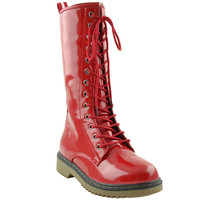 Womens Mid Calf Boots Shiny Lace Up Combat  Casual Zip Up Shoes Red