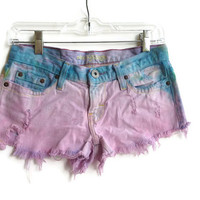 Dip Dye Denim Jean Shorts Low Waisted Upcycled American Eagle Shorts Hipster Boho