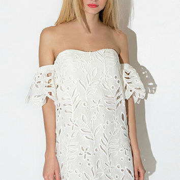 White Off-the-Shoulder Lace Dress