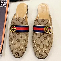 GUCC New fashion stripe more letter print shoes flip flop slippers