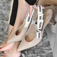 Dior CD new style ladies pointed bow sexy cat heel shoes floral letters ribbon high heels women shoes sandals