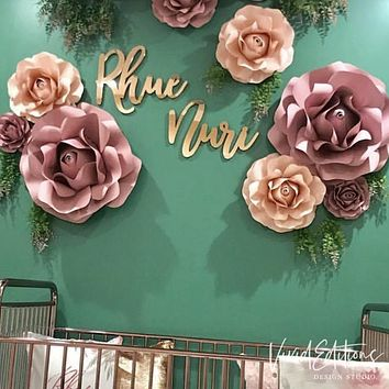 "18"" Rose Gold Mirror Small Personalized Name Sign"