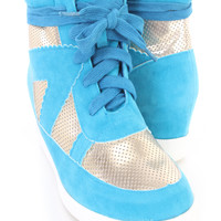 Turquoise Metallic Two Tone Sneaker Wedges Faux Suede