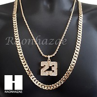 "MEN 23 PENDANT CHAIN DIAMOND CUT 30"" CUBAN LINK CHAIN NECKLACE S070"